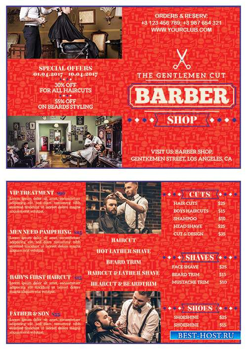 Barber shop bifold flyer psd template