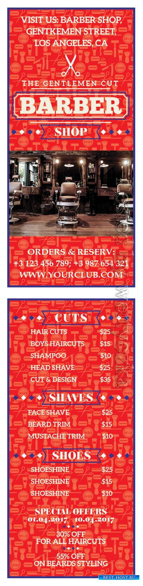 Barber shop psd flyer template