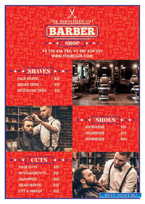 Barber shop flyer psd template