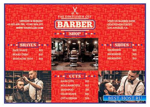 Barber shop flyer psd template vol2
