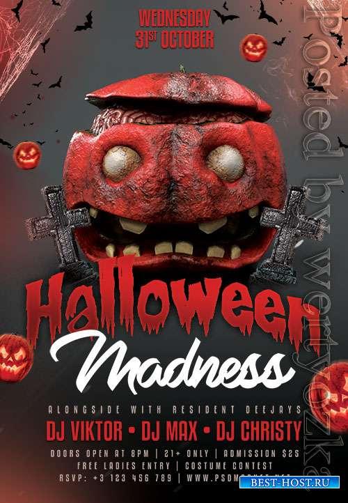 Halloween madness flyer psd