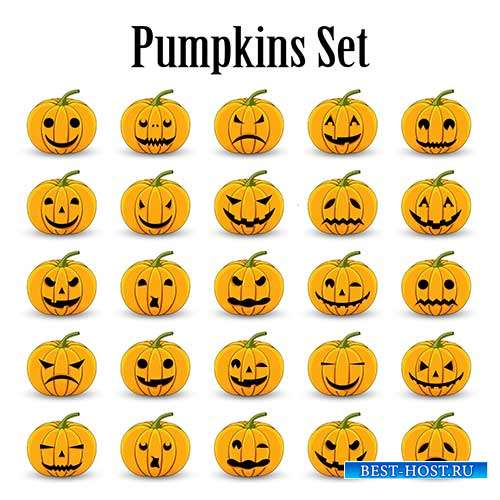 Набор тыкв для Хэллоуина - Векторный клипарт