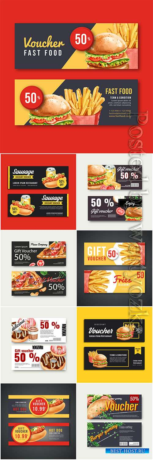 Fast food gif voucher discount, vector menu food