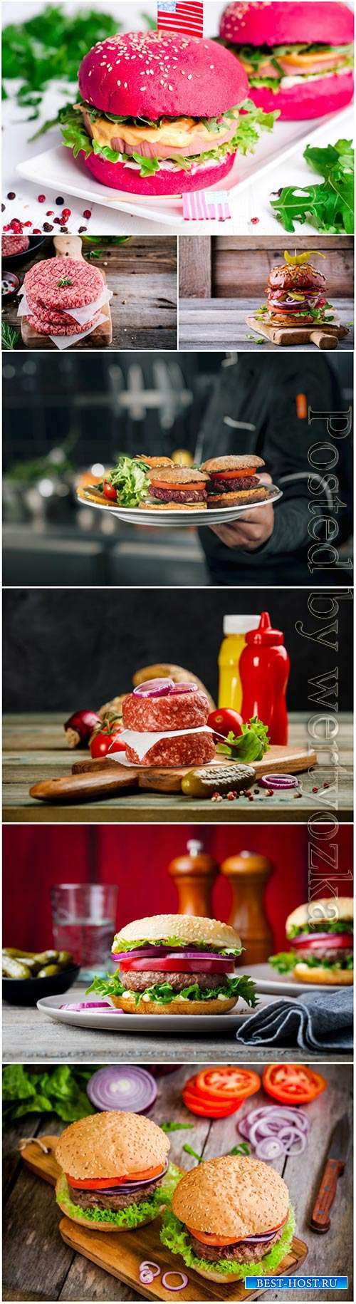 Burgers with fresh vegetables stock photo