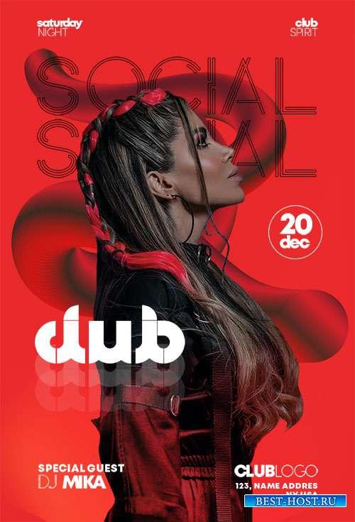 Social Club Flyer Template PSD