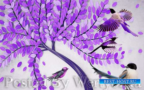 3D psd models modern beautiful hand painted embossed fortune tree bird tv background wall