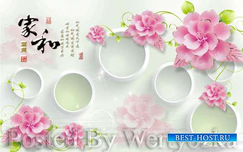 3D psd models home and rich three dimensional flower circle luxury jewelry wall