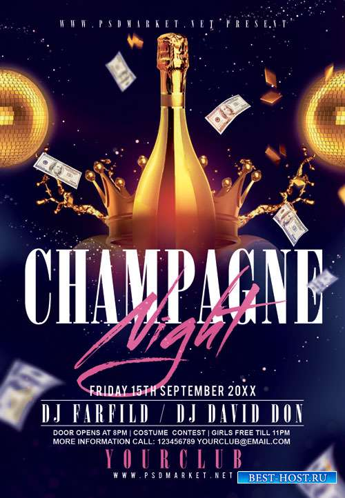 Champagne night - Premium flyer psd template
