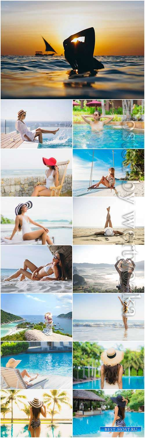 Girls on vacation by the sea stock photo set