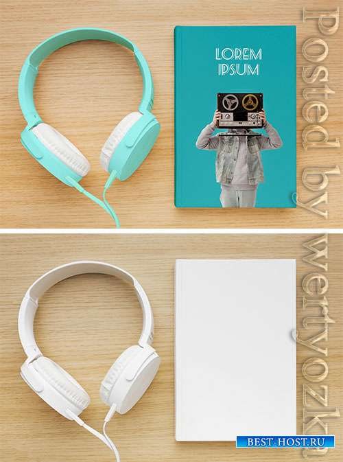 Assortment with book cover mock-up and headphones