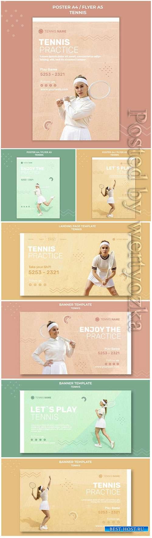 Tennis practice poster template design psd