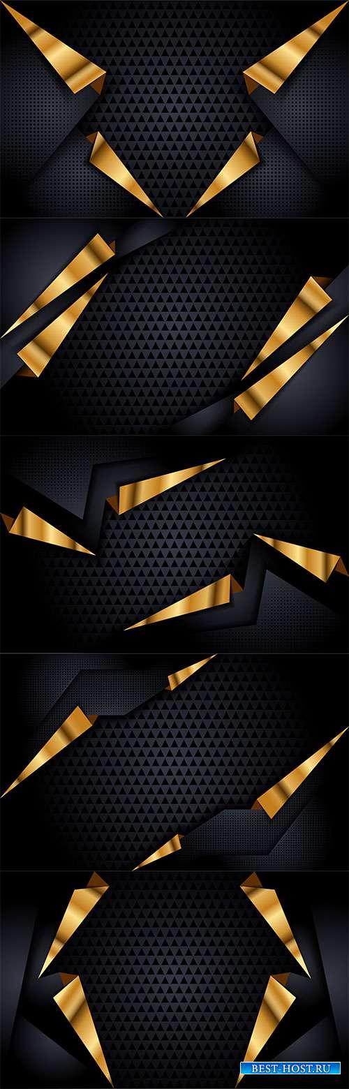 Тёмные фоны в векторе с абстрактными золотыми линиями