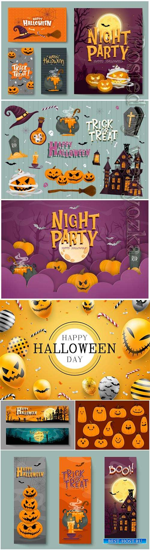 Vector set of halloween party invitations or greeting cards