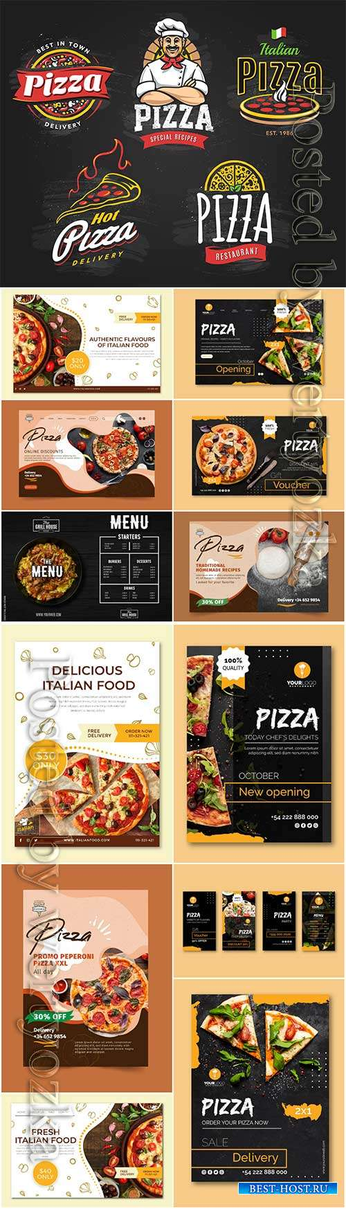 Menu pizza restaurant banner templates