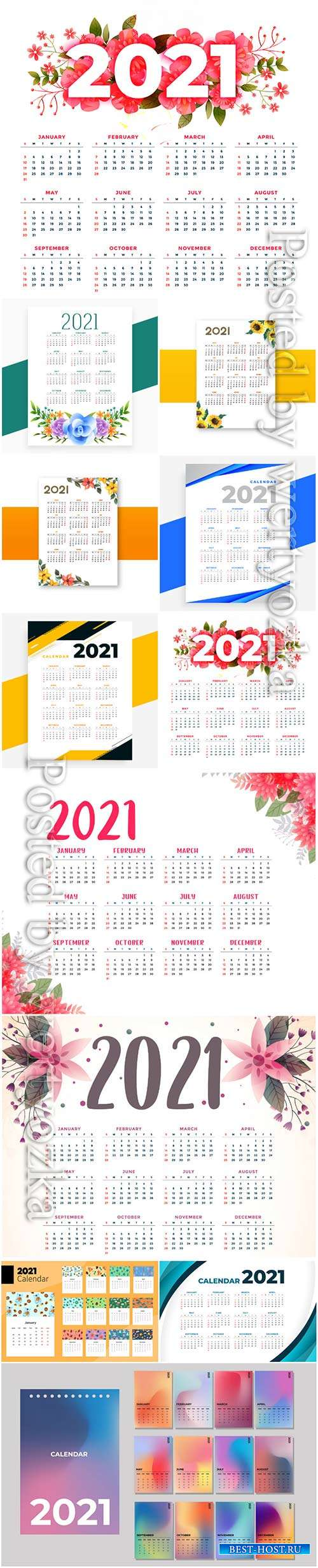 Flower style 2021 beautiful calendar template