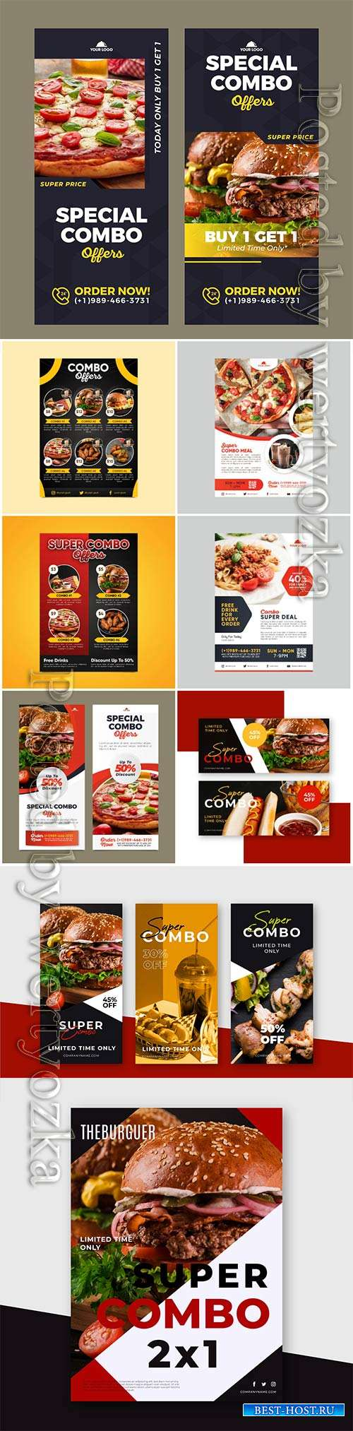 Combo meals discount poster template