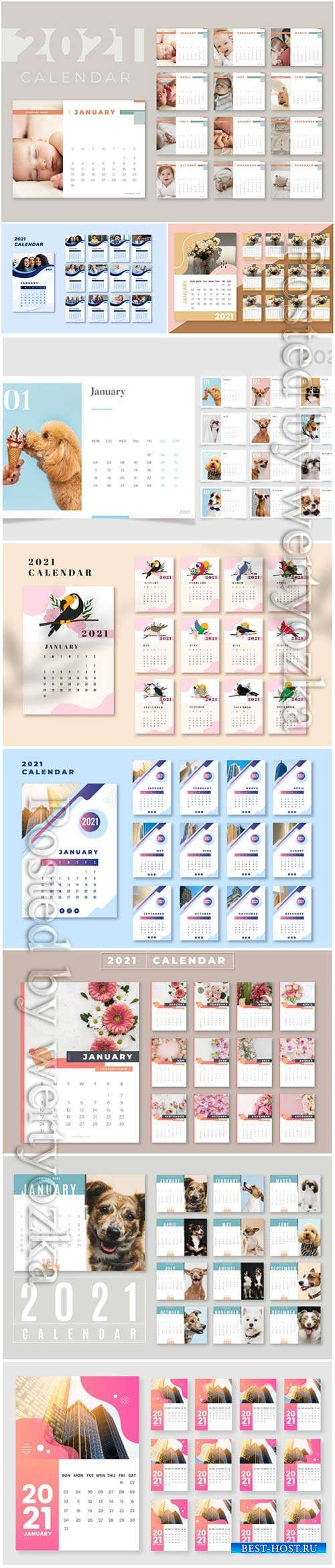 2021 calendar vector set templates vol 2
