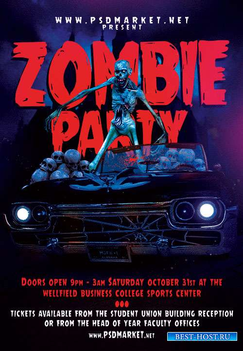 Zombie party flyer psd