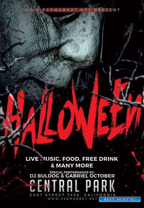 Halloween party night flyer psd