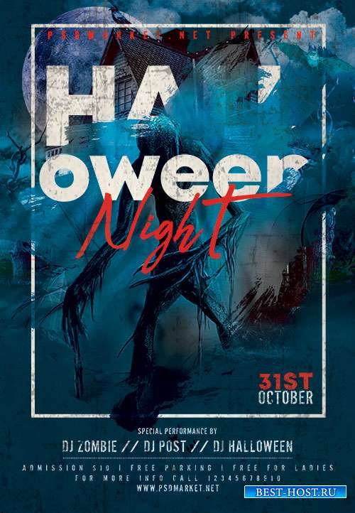 Halloween night event flyer psd
