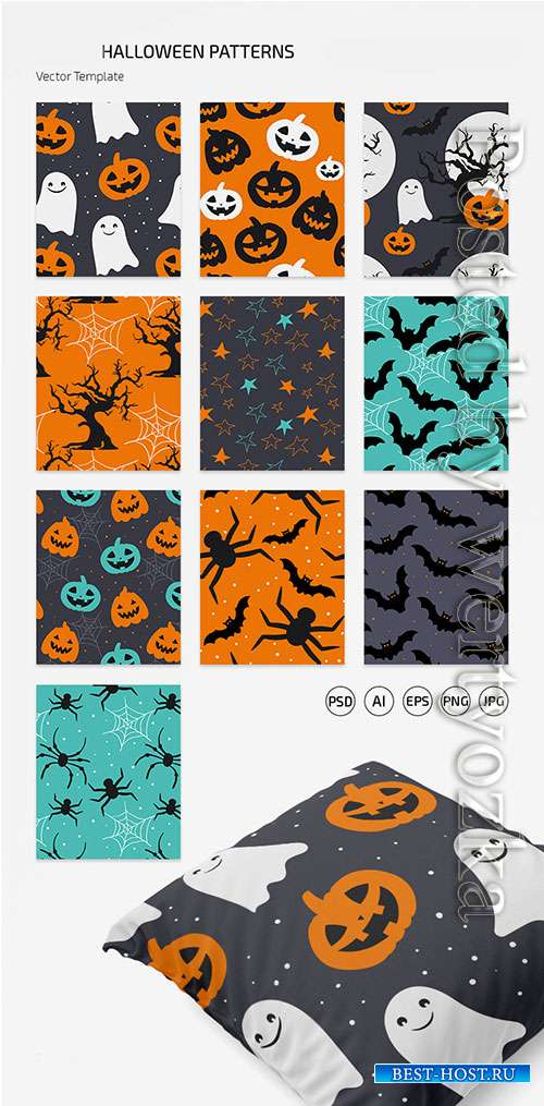HALLOWEEN PATTERN SET IN EPS + PSD