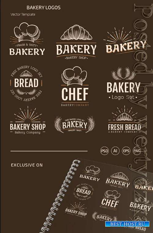 BAKERY LOGOS TEMPLATES IN EPS + PSD