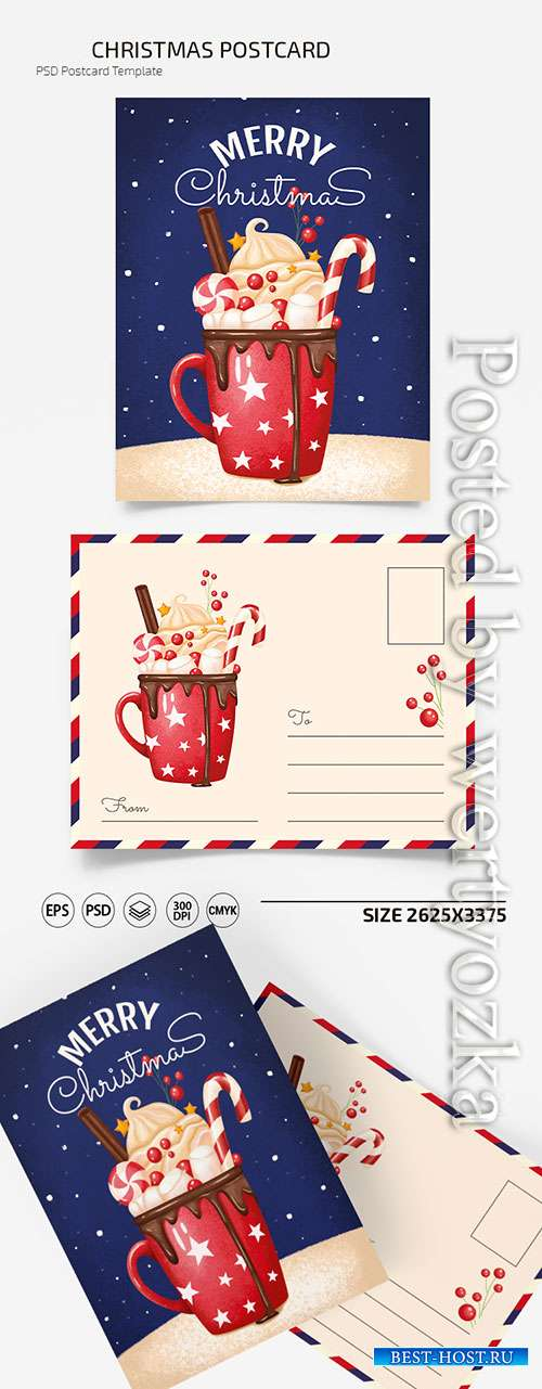 CHRISTMAS POSTCARD TEMPLATES IN PSD + EPS