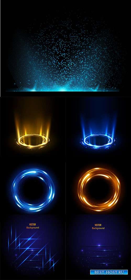 Световые эффекты на тёмном фоне - Векторный клипарт