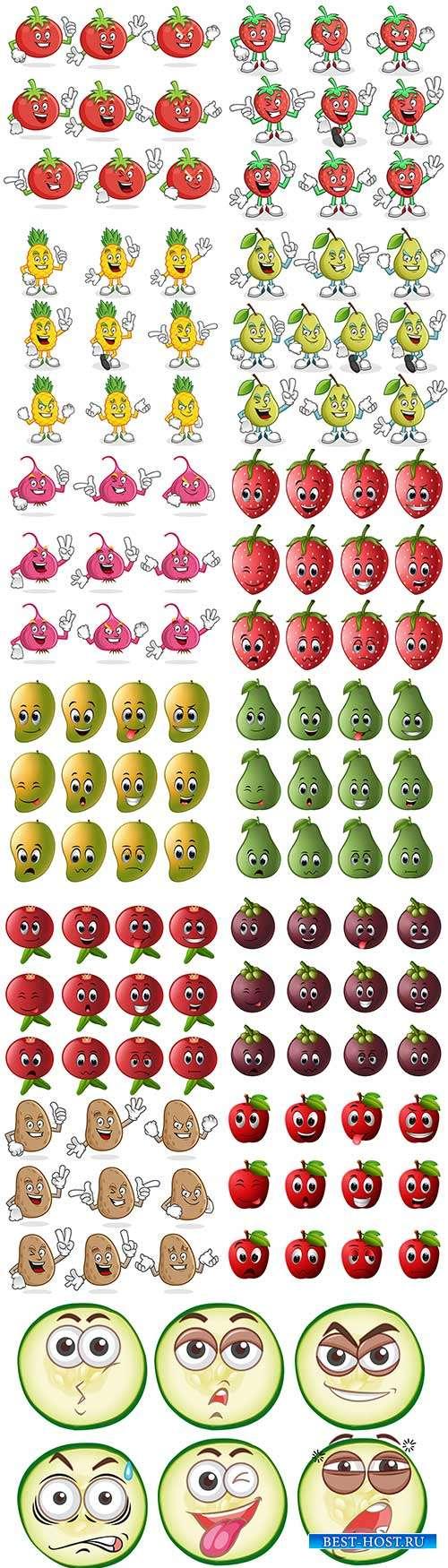 Овощи с забавными лицами - Векторный клипарт