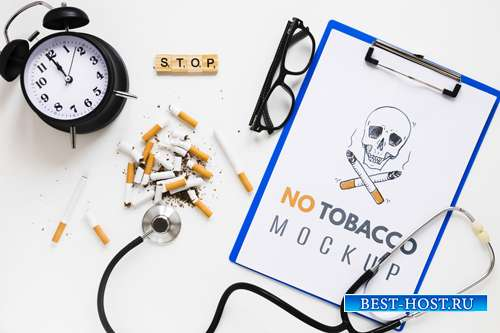 No smoking mock-up with stethoscope