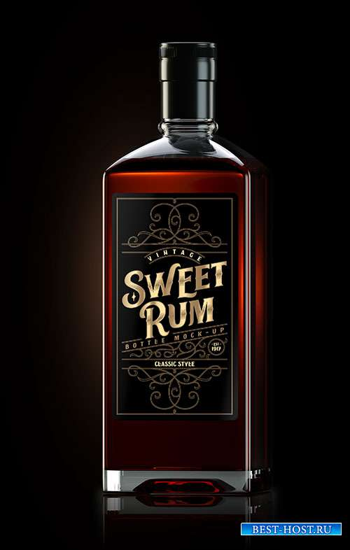 Square dark rum bottle mockup with label 2