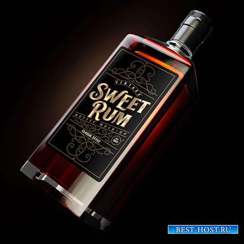 Square dark rum bottle mockup with label