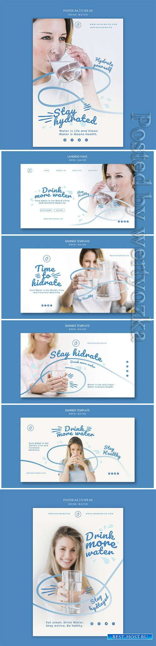 Drink water concept flyer template