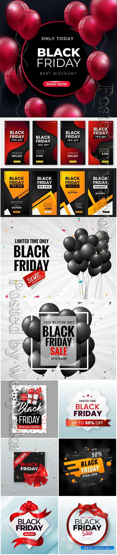 Realistic black friday banner