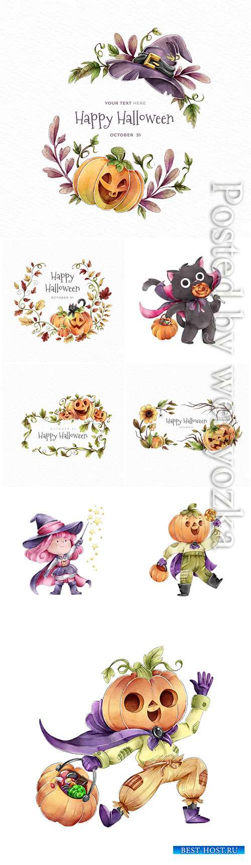 Happy halloween wreath of autumn leaves