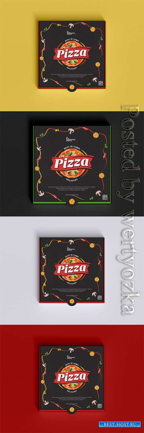 Packaging Pizza Box Mockup PSD