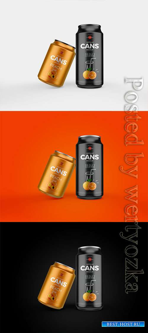 Metallic Cans Mockup