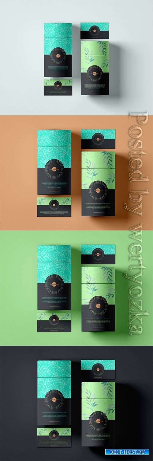 Business Cards With Paper Tube Box Mockup
