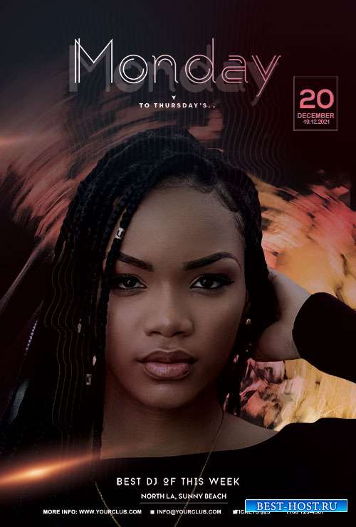 Monday to Friday Party Flyer  PSD Template