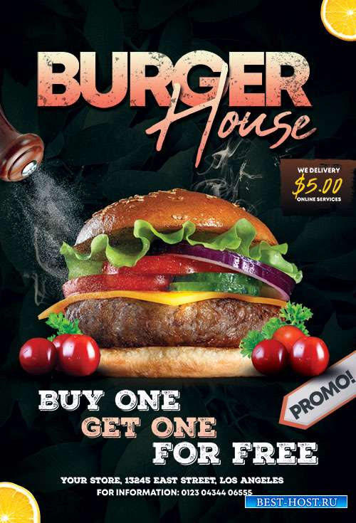 Burger House Flyer  PSD Templates
