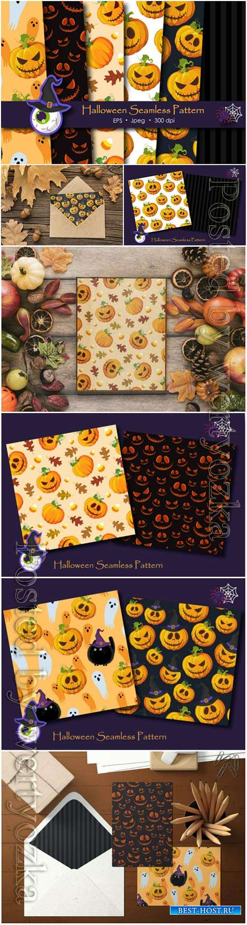 Halloween pumpkins vector pattern