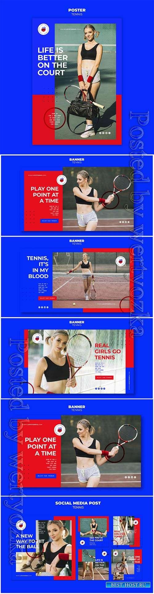 Tennis concept banner template