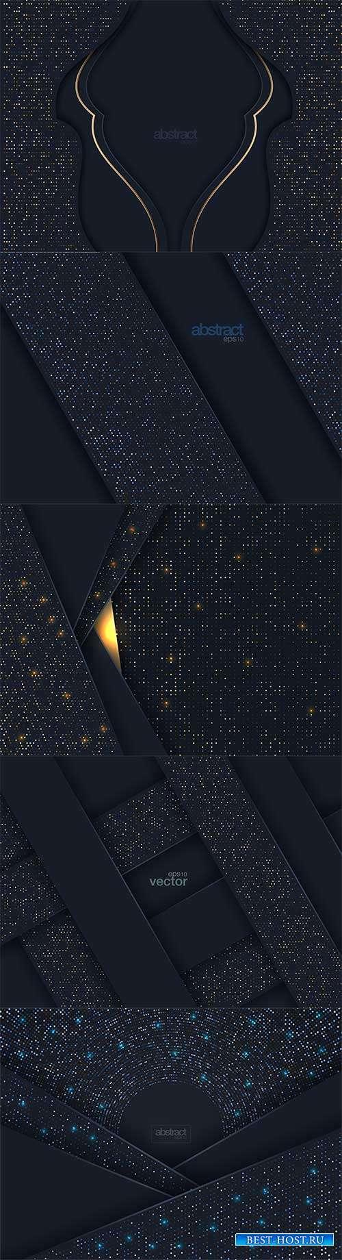 Тёмные фоны с блеском - Векторный клипарт