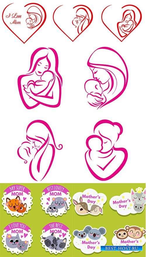 Векторные иконки ко дню матери