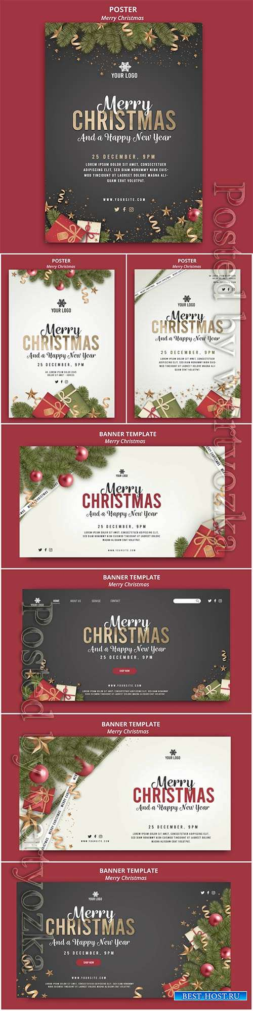 Merry christmas and happy new year background banner