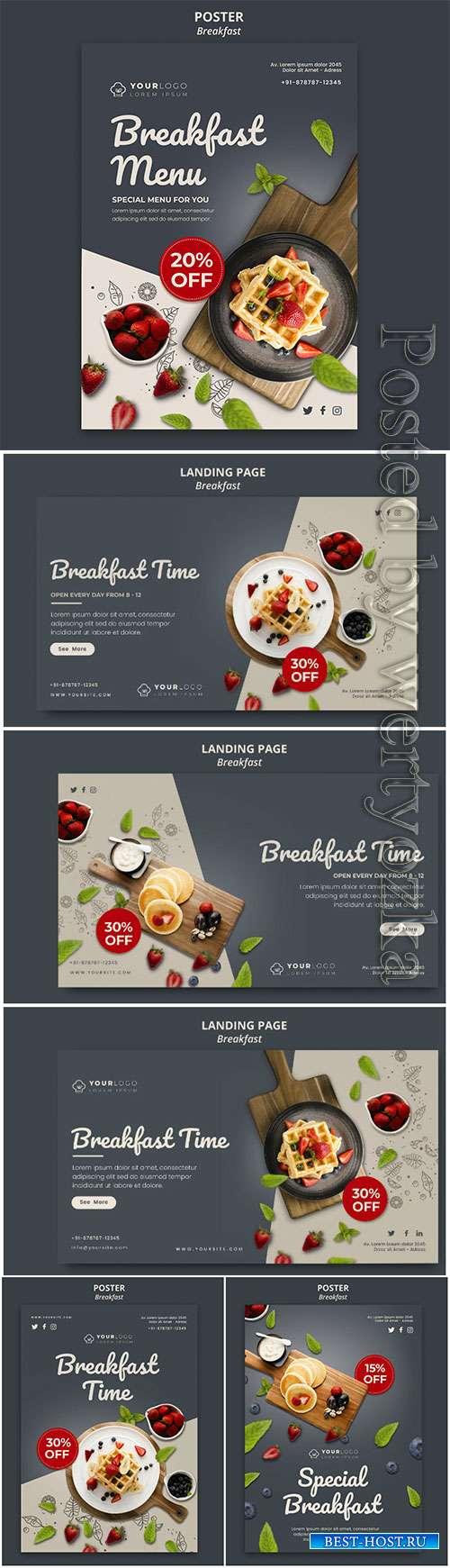 Breakfast time flyer template