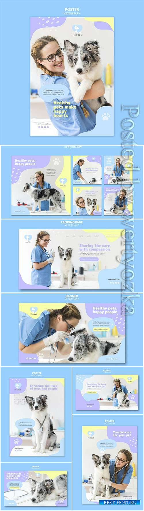 Veterinary clinic psd flyer template