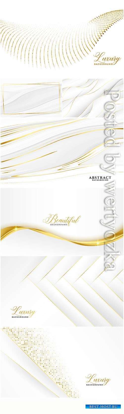 White vector backgrounds with gold decor