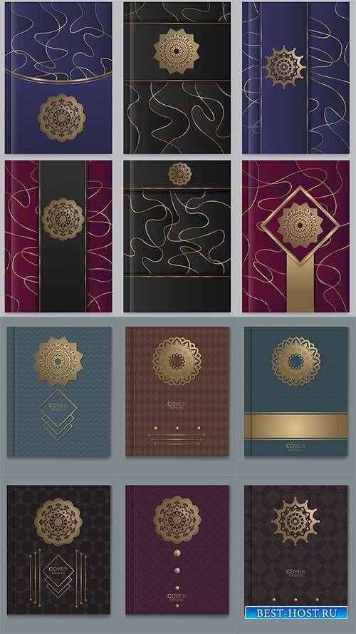 Обложки с золотым тиснением - Векторный клипарт