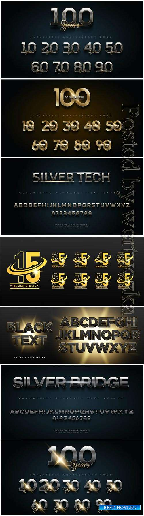 Gold and silver anniversary number set logo, alphabet fonts with text effec ...
